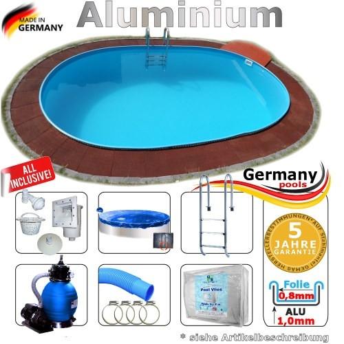 Pool Komplettset 7,0 x 3,5 x 1,50 m Swimmingpool Alu