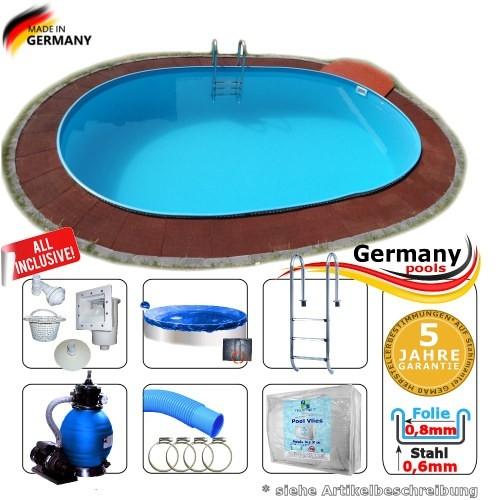 Pool oval 7,0 x 4,2 x 1,2 m Komplettset