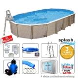 Aufstellbecken 7,3 x 3,6 x 1,32 m oval Center Pool freistehend Set