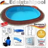 Edelstahl Pool 8,7 x 4,0 x 1,25 m oval Komplettset