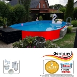 Ovalpool Rot 500 x 300 x 125 cm