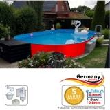 Ovalpool Rot 715 x 400 x 125 cm