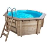 Pool Holz 5,30 x 1,33 m Holzpool Holzbecken Pool rund Set