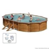 Pool Holz 6,10 x 3,75 x 1,20 m Holzpool Oval Holz Optik