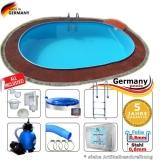 Pool oval 7,3 x 3,6 x 1,2 m Komplettset