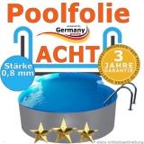 Poolfolie 7,25 x 4,6 x 1,2 m x 0,8 achtform bis 1,5 m