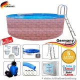 Schwimmingpool 640 x 120 cm Poolset Pool Komplettset Brick