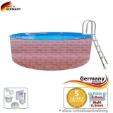 Schwimmingpool 8,0 x 1,2 Ziegel-Optik