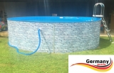 Gartenpool 400 x 120 cm Poolset Stone Pool Steinoptik