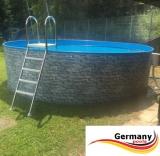 Gartenpool 450 x 120 cm Poolset Stone Pool Steinoptik